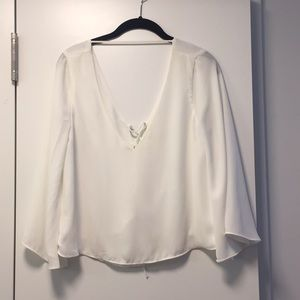 Zara White Lace Up Blouse